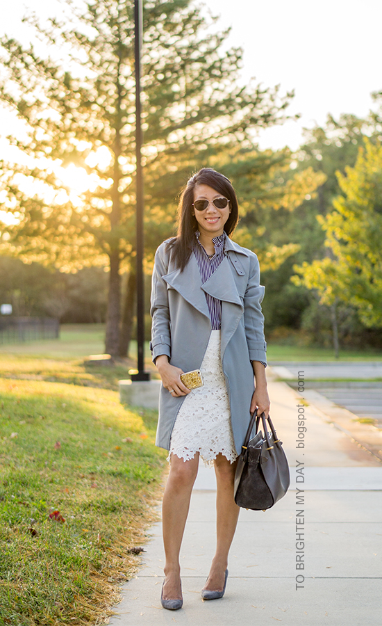 gray draped trench, navy striped top, white floral lace pencil skirt, stacked rings, gray tote, gray suede pumps