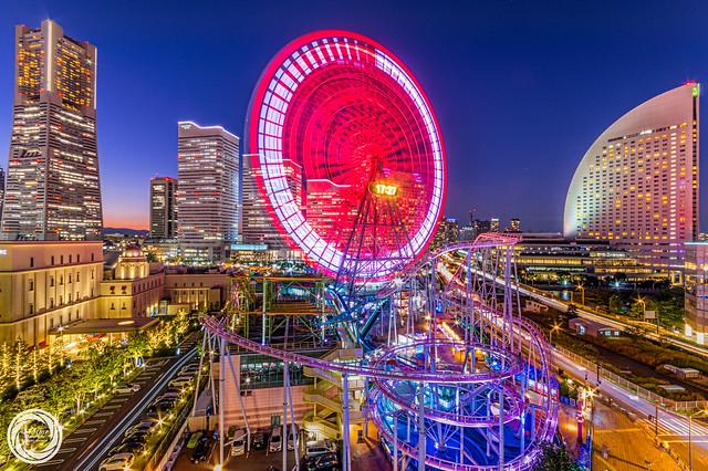 Ferris Wheel in Red, Twilight Yokohama MM21