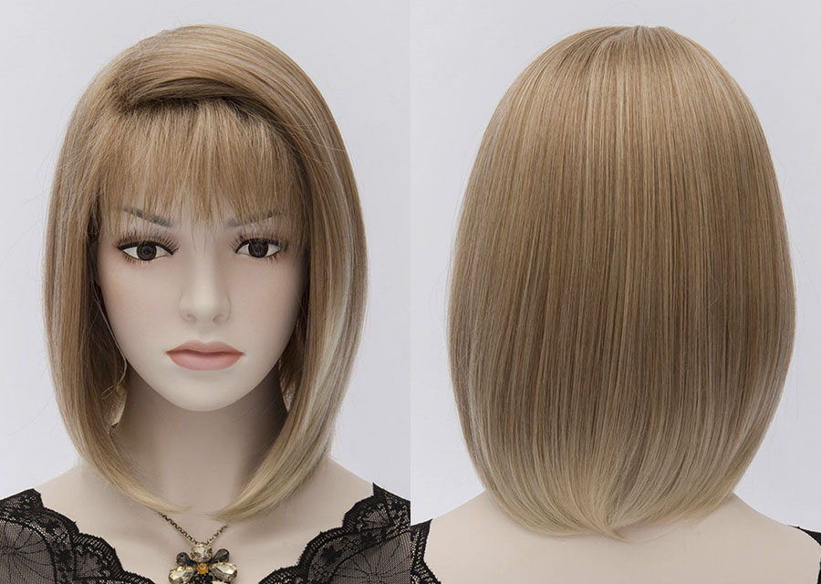Straight 120% 12 Inches Capless Cosplay Wigs Synthetic Hair