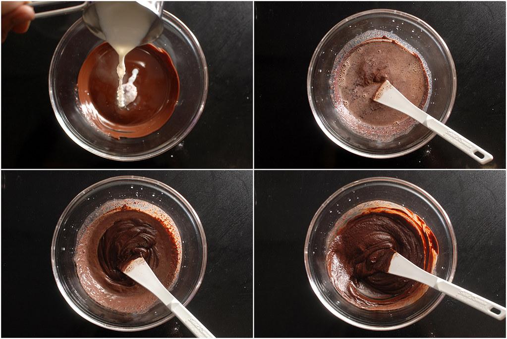 שופכים על השוקולד. התערובת אולי תיראה גרגרית