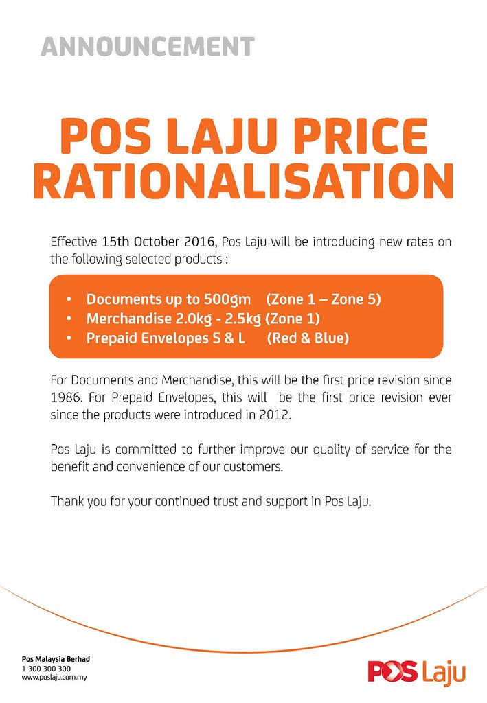 Poslaju Official Announcement New Rate Price 2016 @  Berfa Shop Group & Team