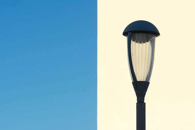 Street lamp and wall