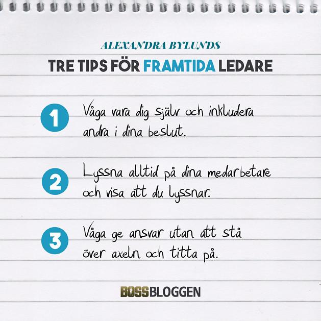 Tre tips Alexandra Bylund