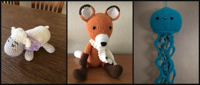 crocheted animals collage