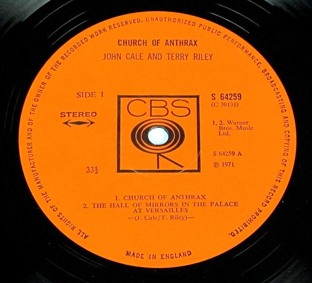 "JOHN CALE & TERRY RILEY CHURCH OF ANTHRAX ORIG UK 12"" LP VINYL"