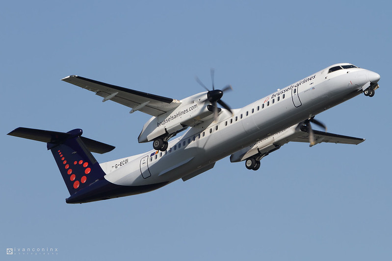 Bombardier DHC-8-402 Q400 – Brussels Airlines (Flybe – British European) – G-ECOI – Brussels Airport (BRU EBBR) – 2012 08 11 – Takeoff RWY 07R – 01 – Copyright © 2012 Ivan Coninx