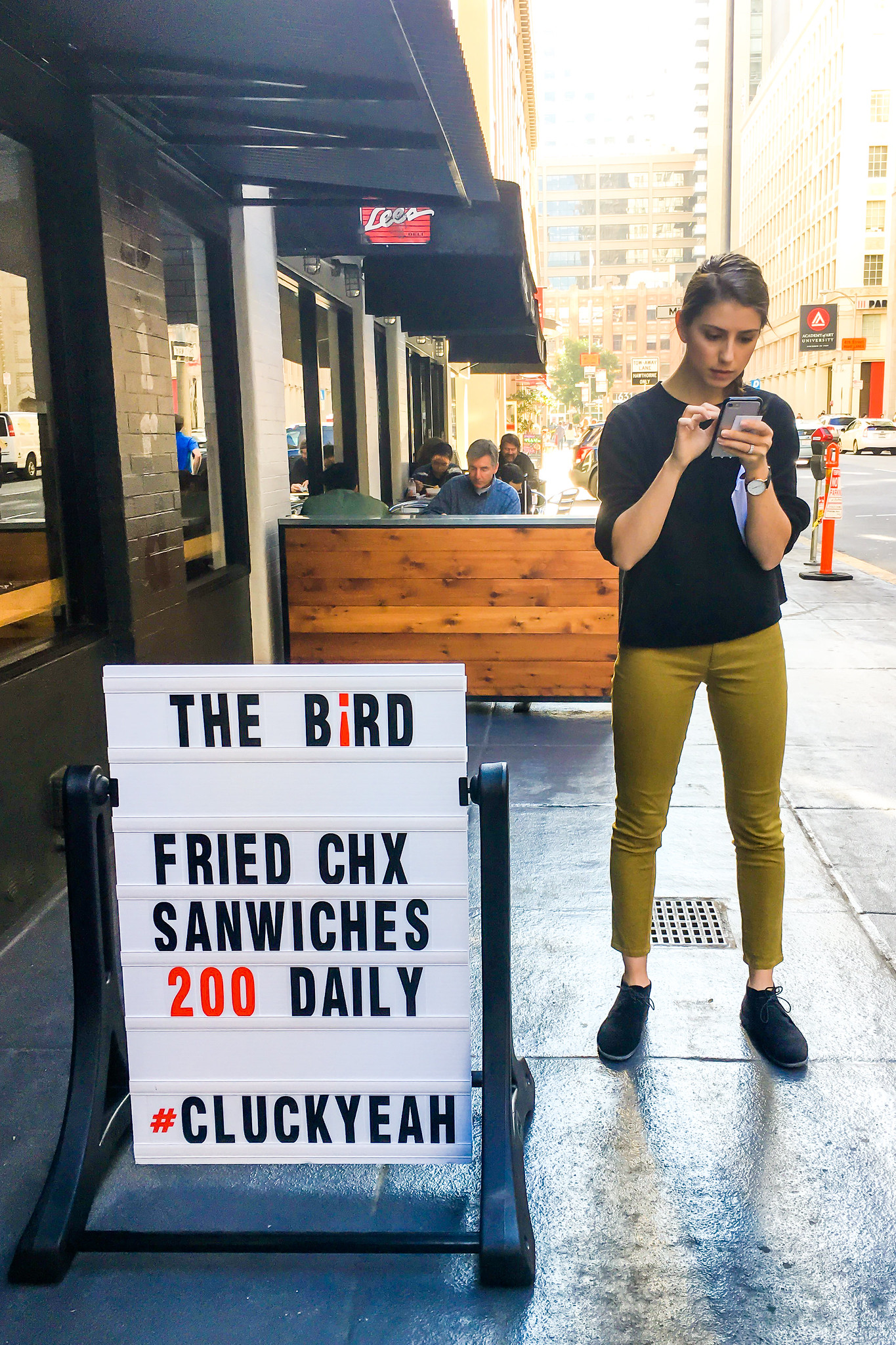 The Bird, Fried Chx Sandwiches 200 Daily, #Cluck Yeah