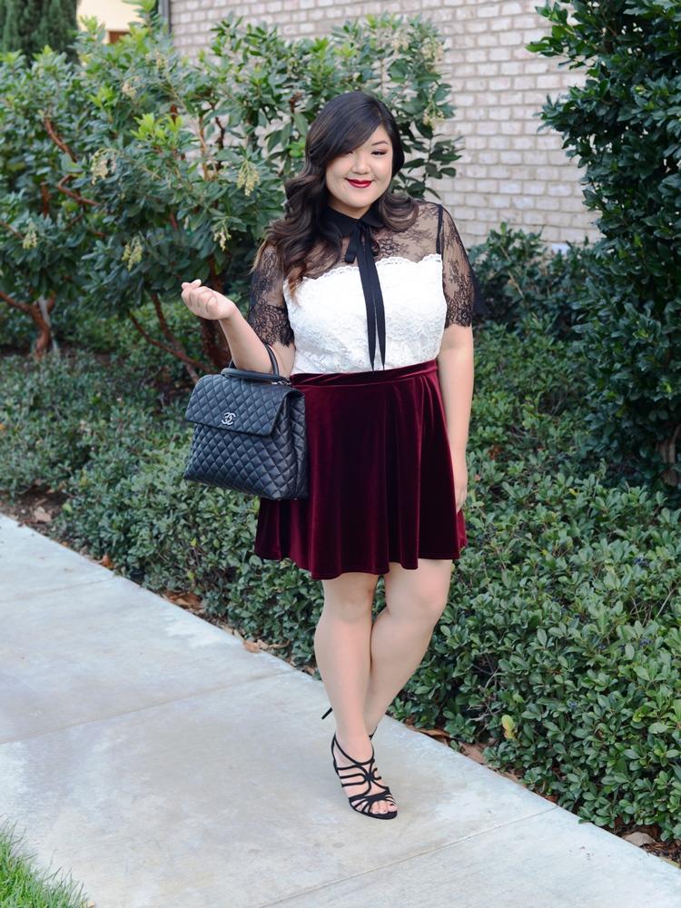 Curvy Girl Chic ELOQUII lace top velvet skirt 3