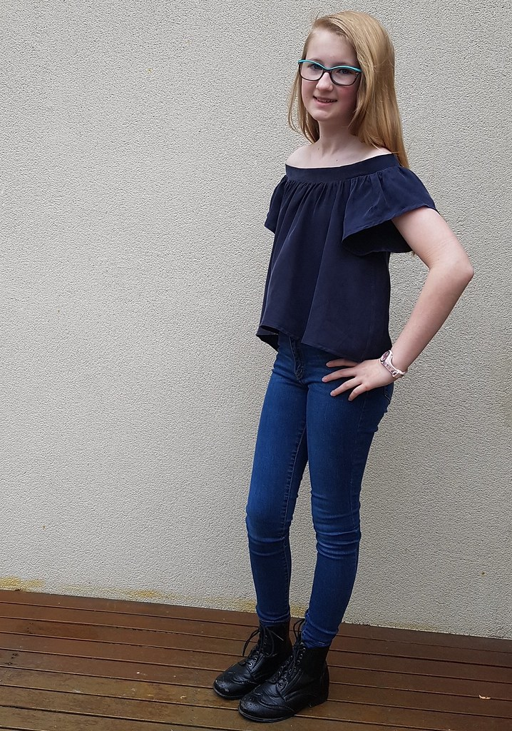 Style Arc Cara top in navy tencel from Clear It