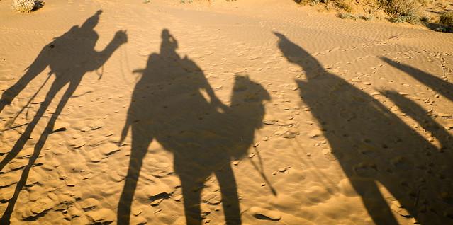 Silhouette of camels at Khuri sand dunes, near Jaisalmer, India ジャイサルメール、クーリー砂丘へのキャメルサファリにて