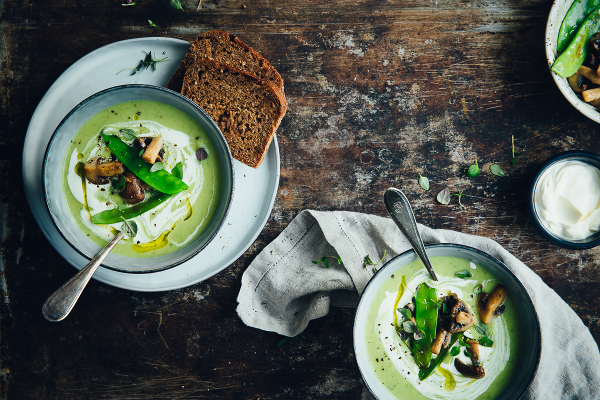 Creamy Celeriac & Kale Soup with Sautéed Mushrooms & Sugar Snaps | Cashew Kitchen