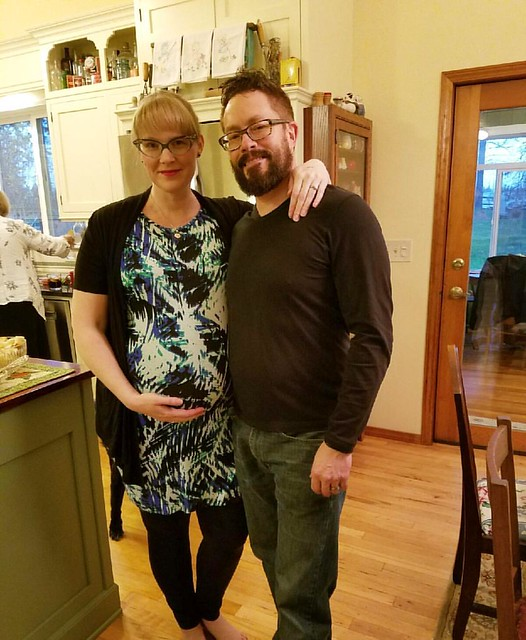 Josh and I at Thanksgiving dinner tonight. Not too shabby for two people who were violently ill with food poisoning the day before.