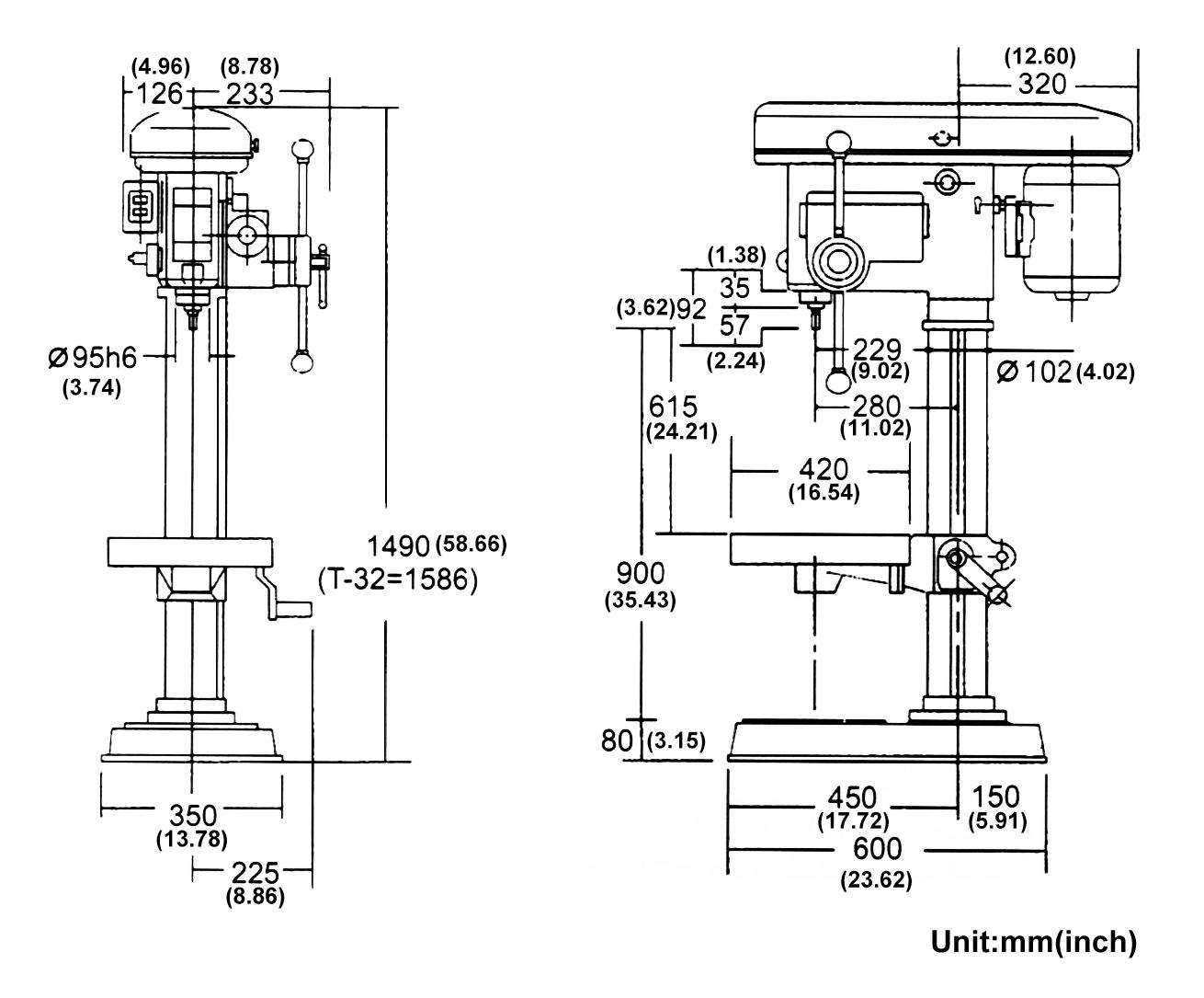 bench drill press machine automatic pillar drill made in