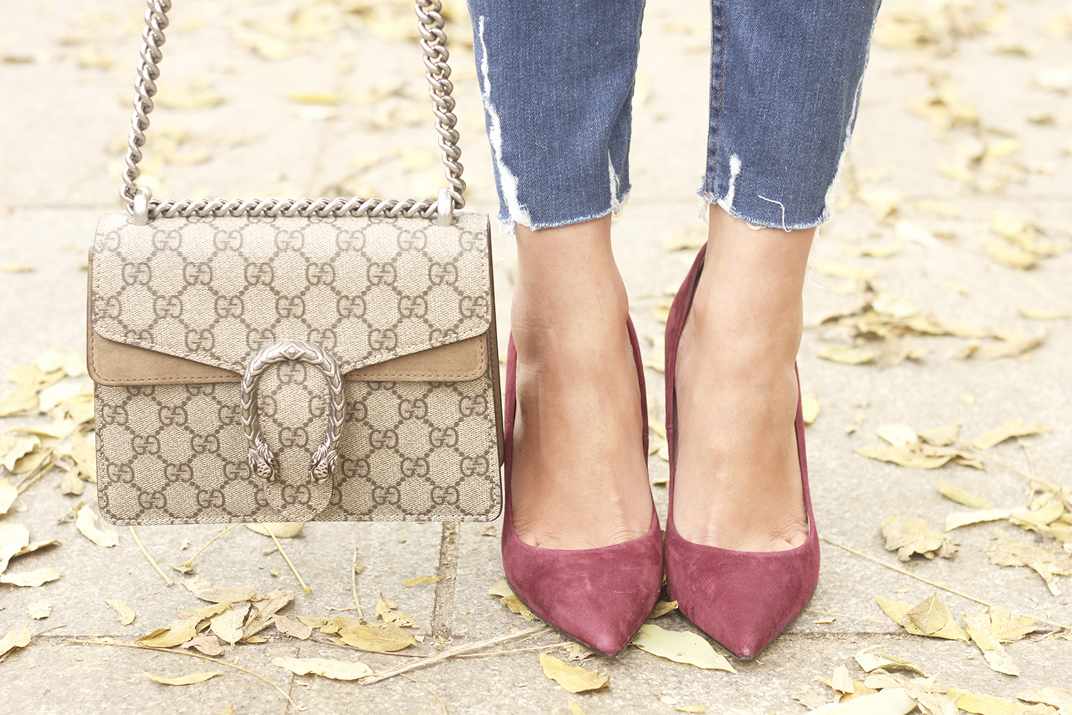 Houndstooth Coat striped shirt burgundy uterqüe heels gucci bag outfit style fashion15