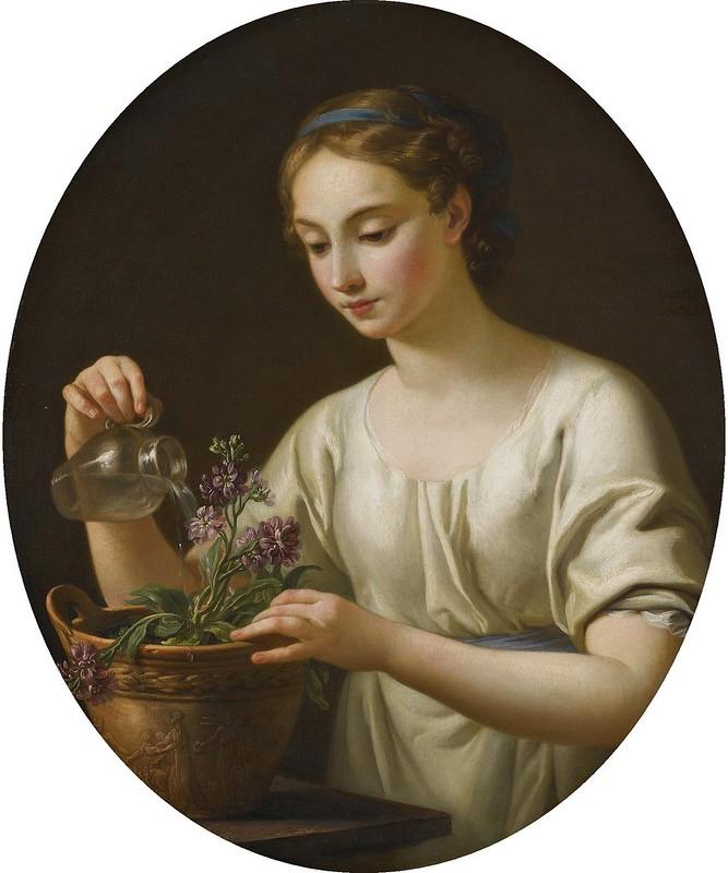Joseph-Marie Vien - Jeun fille arrosant des fleurs