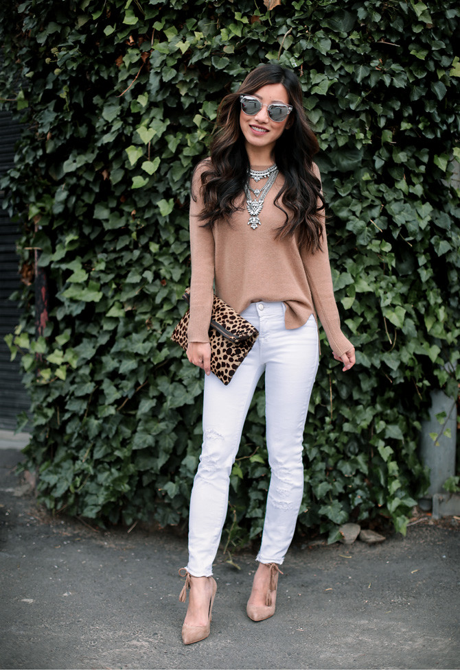 camel cashmere sweater white jeans outfit extra petite blog