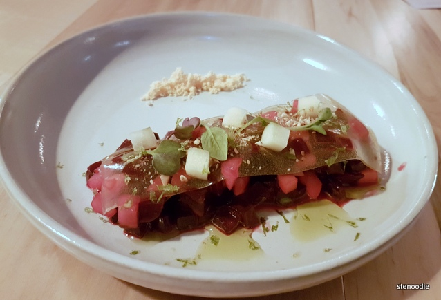 Beet, gochujang, rice vinegar, chili oil, apple, almond, perilla oil