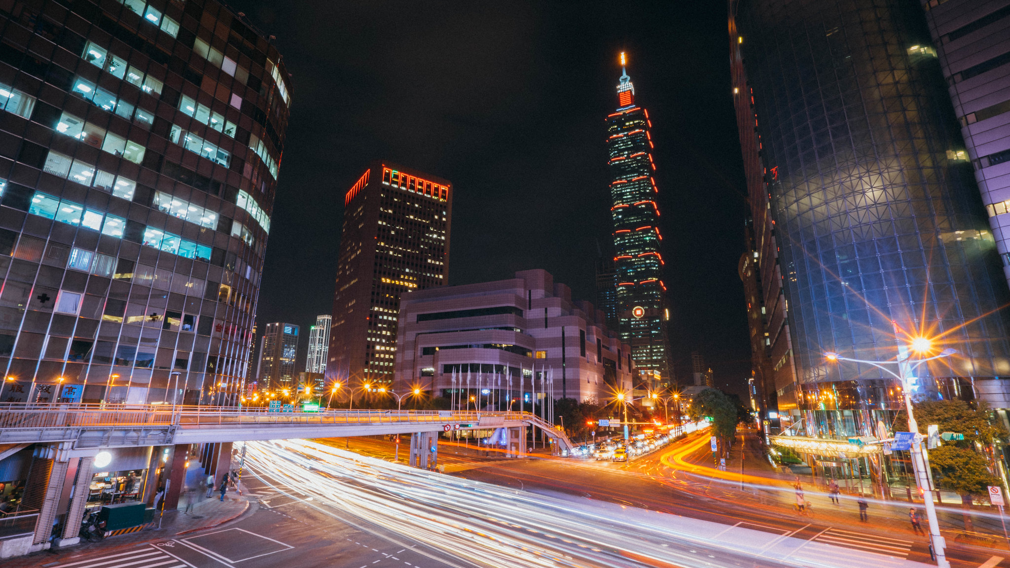 Taipei 101 City View with Car Light Trails