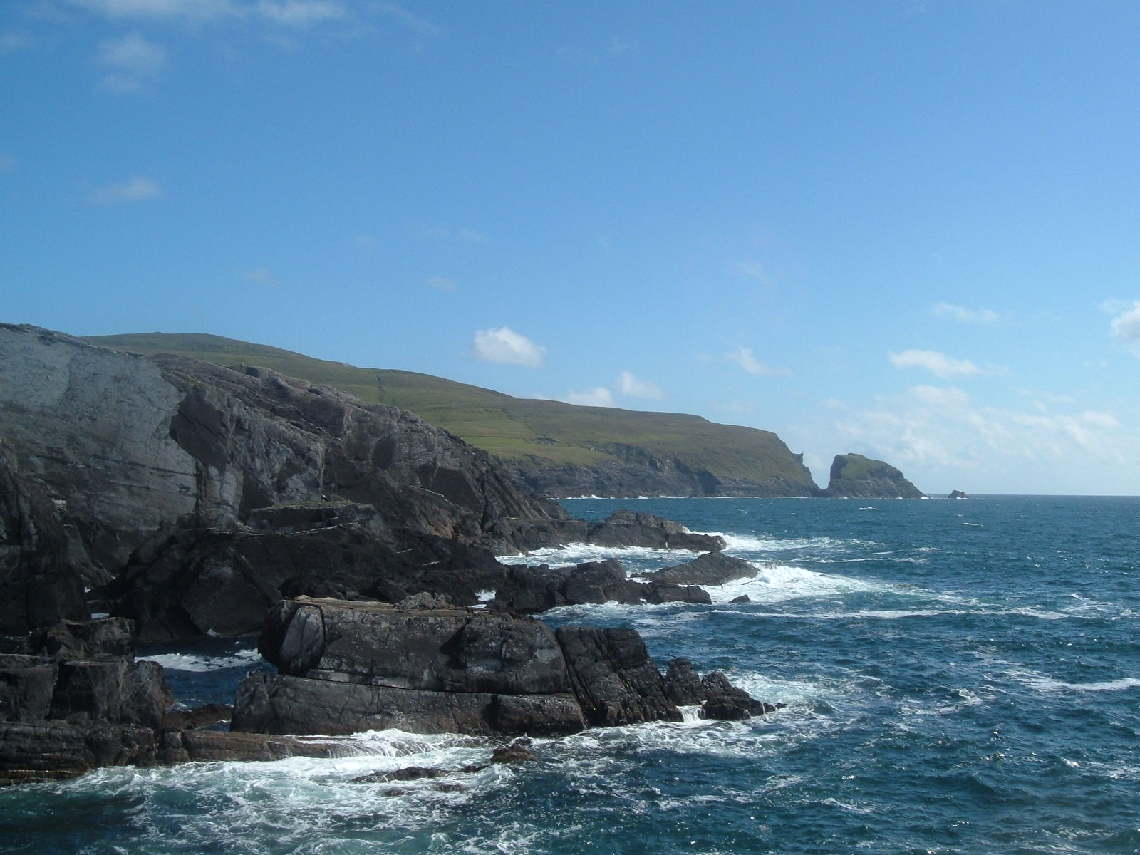 The Atlantic ocean and the grey rocks of the Mizen peninsula