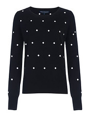French Connection black polka dot sweater