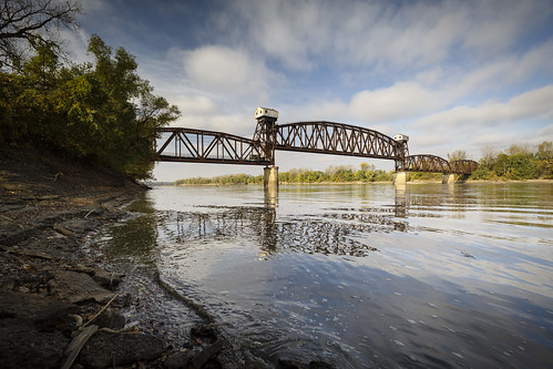 http://www.notleyhawkins.com/, Notley Hawkins Photography, Notley, Notley Hawkins, 10thavenue, landscape, Missouri Outdoors, river, water, reflect, reflection, Missouri River, Boonville, Boonville Missouri, Cooper County Missouri, Missouri, bridge, Katy Bridge, clouds, sky, 2016, October Fall, river bank, current, river current, railroad bridge, Missouri Landscape Photography, Missouri Landscape photo, Fine Art Photo, Fine Art Photography, Boonville Photo, Boonville Photographer