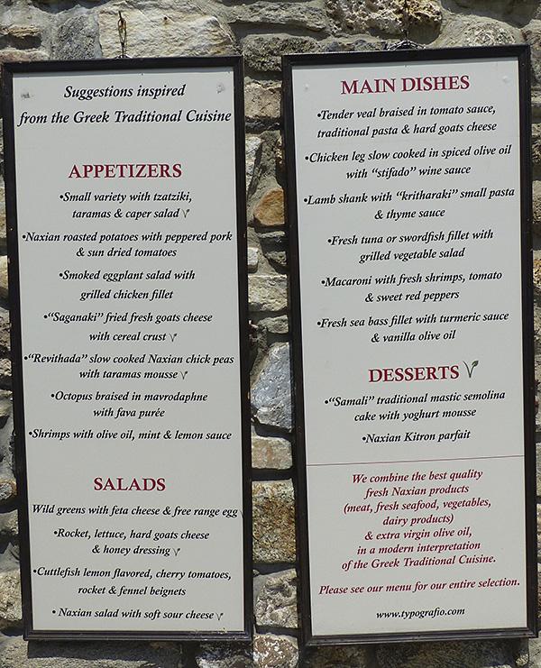 menu typografico