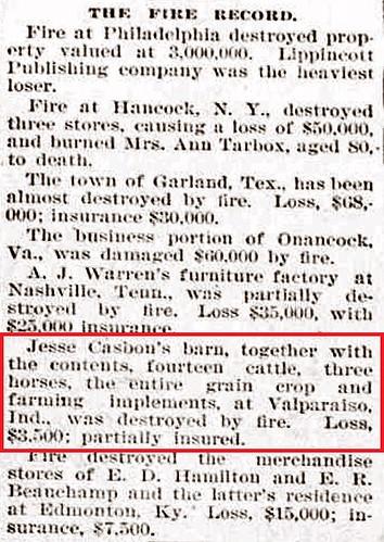 Jesse C barn burned 1899