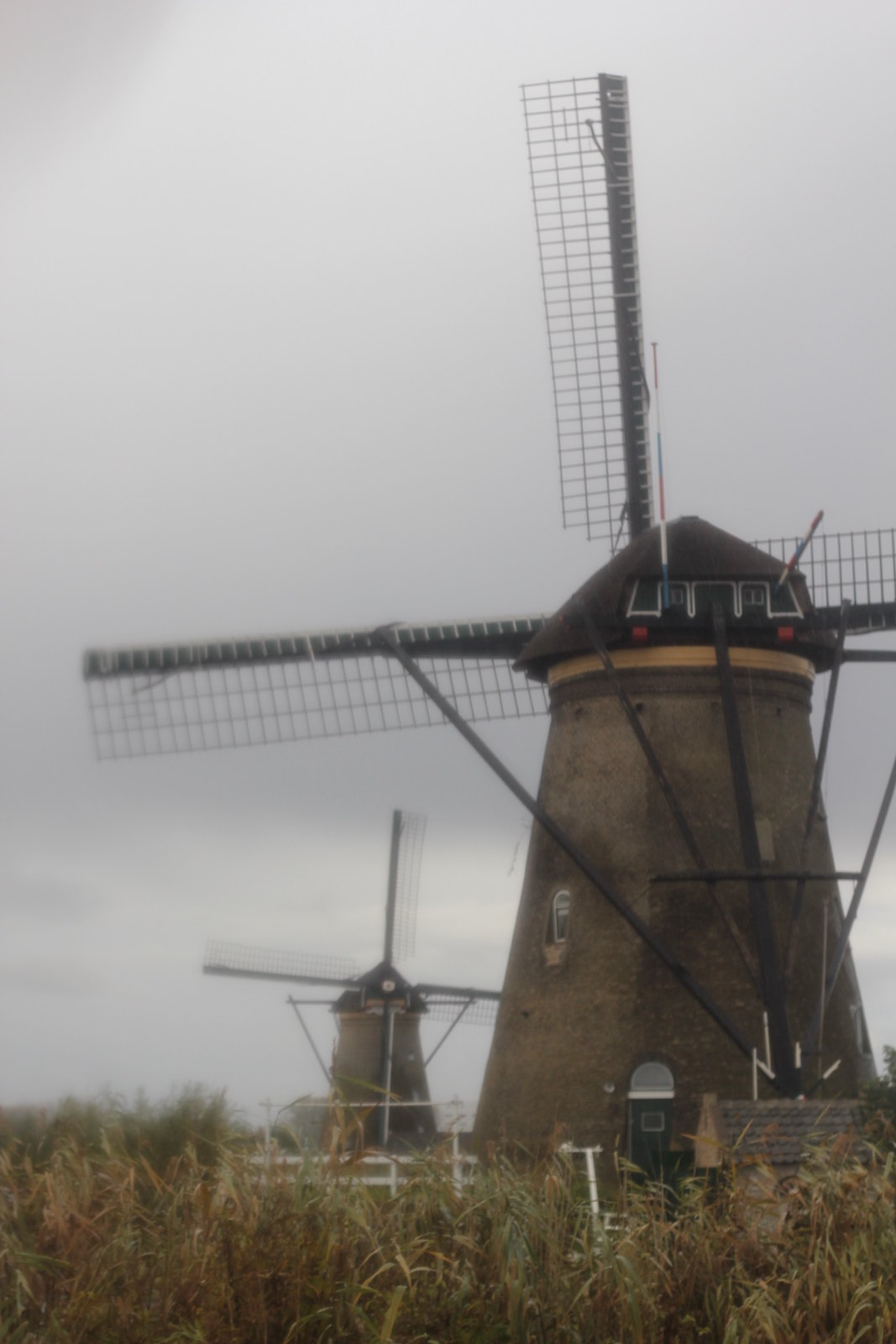 Misty Kinderdijk windmills