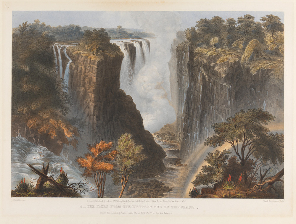 Print made by Day & Co., 1824–1913, British unknown artist after Thomas Baines, 1820–1875, South African Title  The Falls from the Western End of the Chasm
