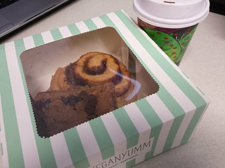 Nekkid cinnamon roll, Peanut Butter Chocolate Chip bar, red velvet latte from Veganyumm