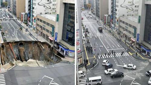 В Японії відремонтували дорогу з проваллям