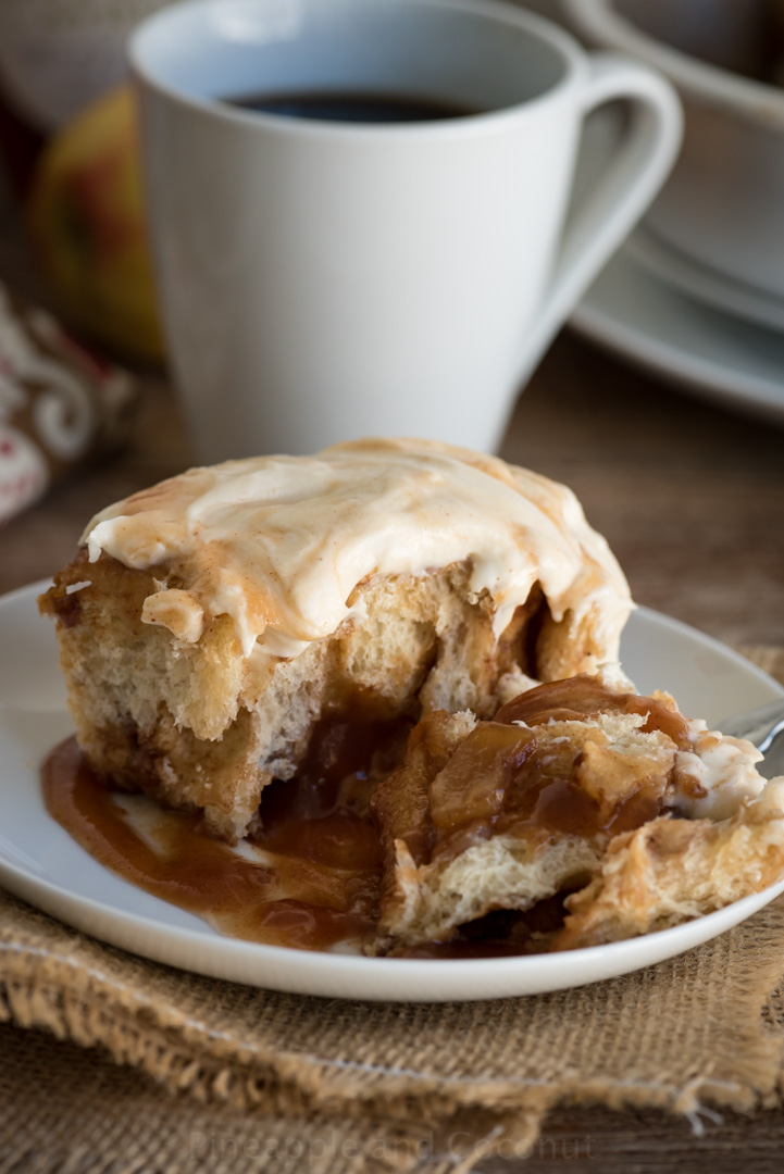 Caramel Apple Butter Cinnamon Rolls with Apple Cider Cream Cheese Icing www.pineappleandcoconut.com #AD #WorldmarketTribe #Discoverworldmarket