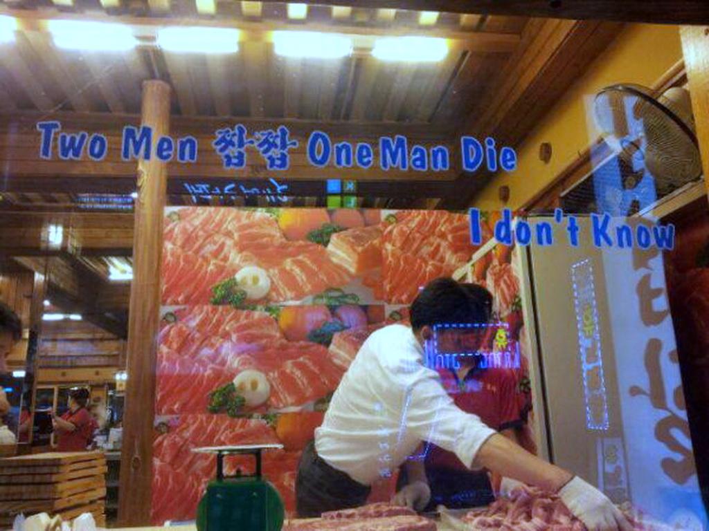 Two men eat