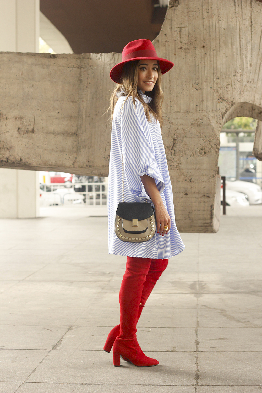 striped dress red over the knee boots red hat accessories fashion outfit style autumn06