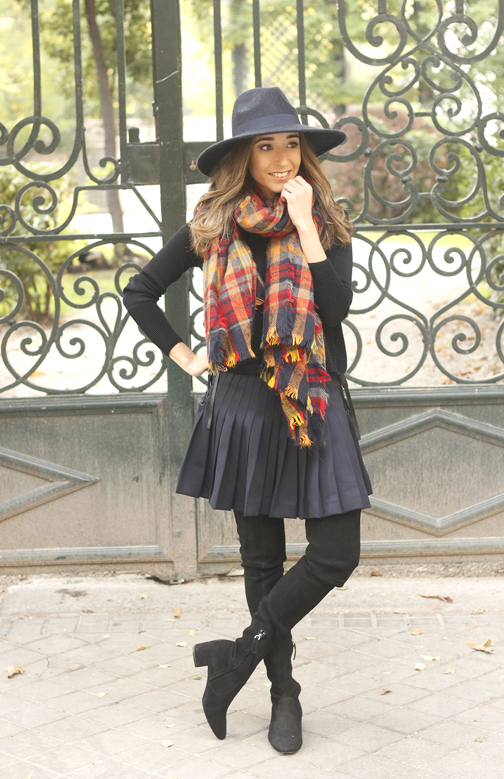 blue pleated skirt with over the knee boots blue hat black jersey outfit style 03