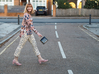 Glam casual party outfit: Mixed patterns \ pyjama style shirt \ graphic print cropped flares \ Gucci-inspired pink suede block heels \ mini black box bag | Not Dressed As Lamb, over 40 style
