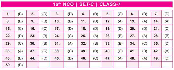 NCO Answer Keys class 7