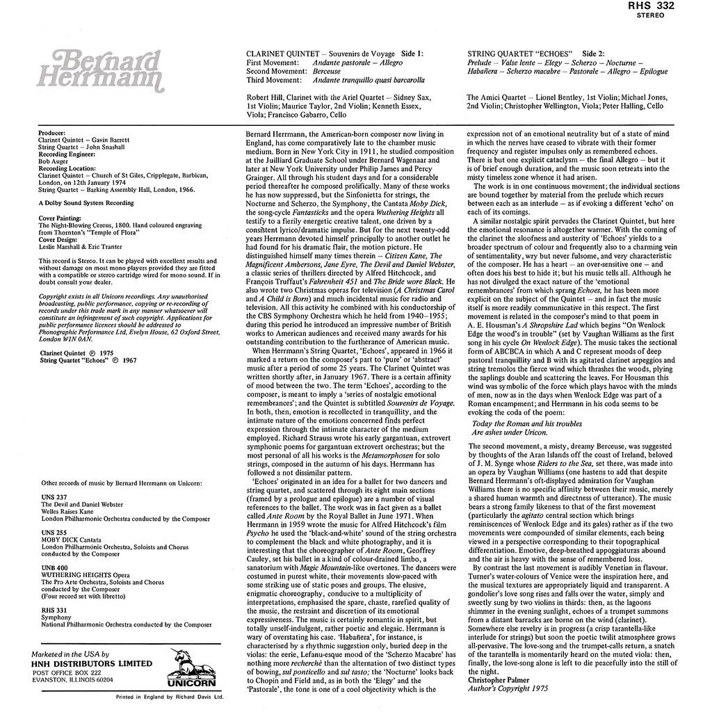 Bernard Herrmann - Clarinet Quintet / String Quartet