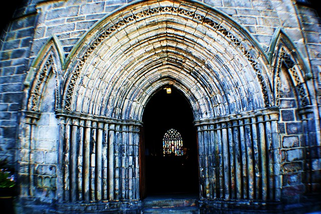 Western entrance to Paisley Abbey, Scotland.