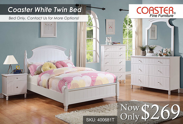 Coaster White Twin Bed -- $269 -- 400681F