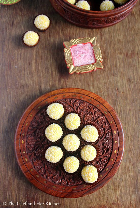 desiccated coconut condensed milk ladoo
