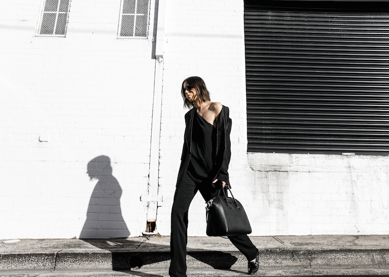 Givenchy one shoulder trend jumpsuit all black street style inspo fashion blogger Antigona minimal modern legacy yoox (11 of 13)
