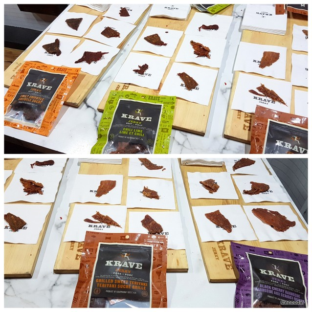Krave Jerky: Sweet Chipotle Beef Jerky, Chili Lime Beef Jerky, Grilled Sweet Teriyaki Pork Jerky, Black Cherry Barbecue Pork Jerky