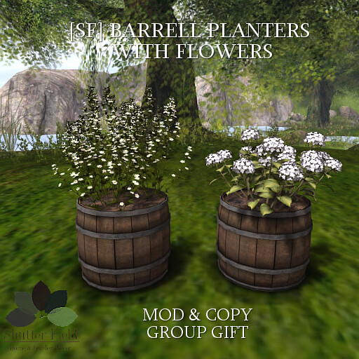 [sf] barrell planter with flowers - gg - ad