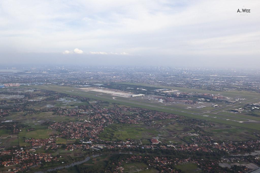 Jakarta Soekarno-Hatta Airport seen on take-off