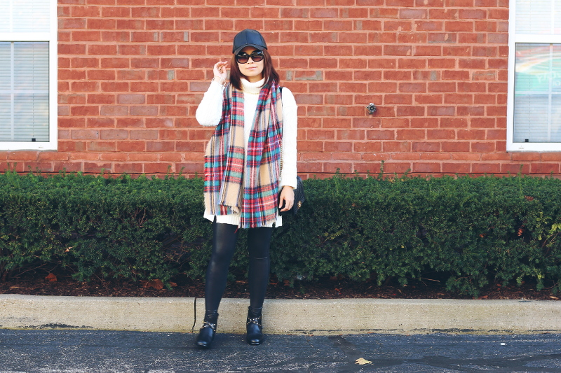 white-sweater-dress-plaid-blanket-scarf-4
