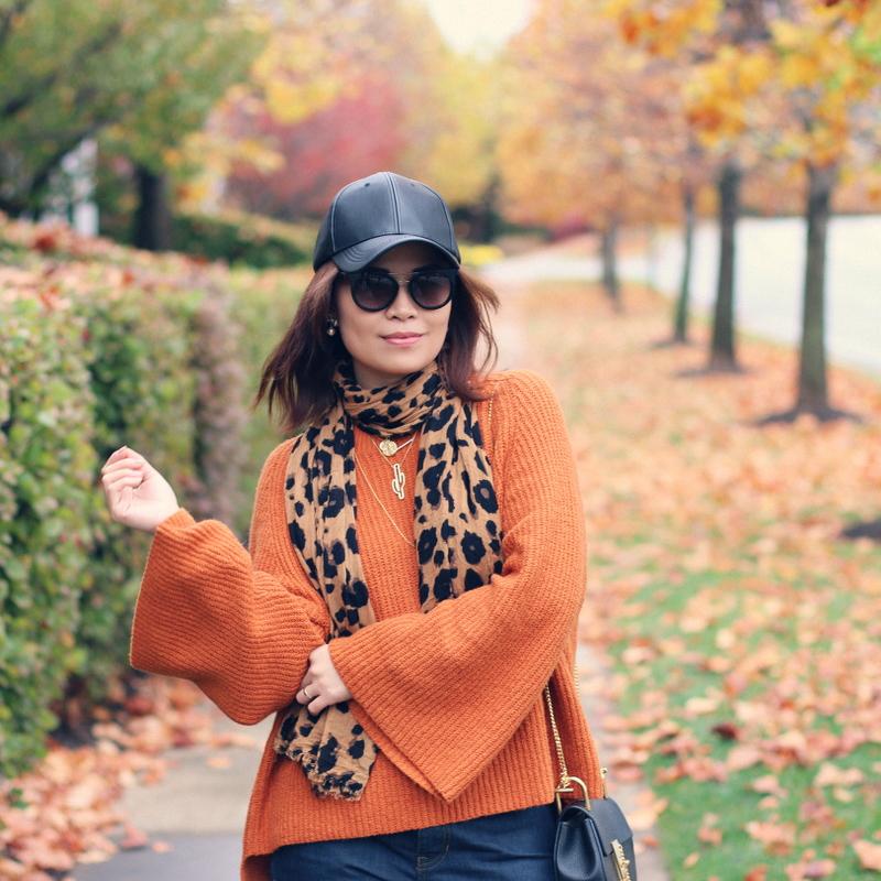 orange-rust-bell-sleeve-sweater-faux-leather-cap-leopard-scarf-7