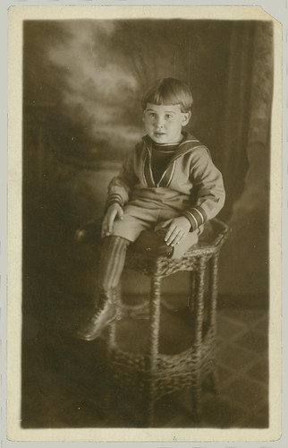 RPPC Boy on Table