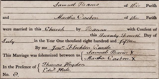 Martha C Samuel B marriage Meldreth 1815