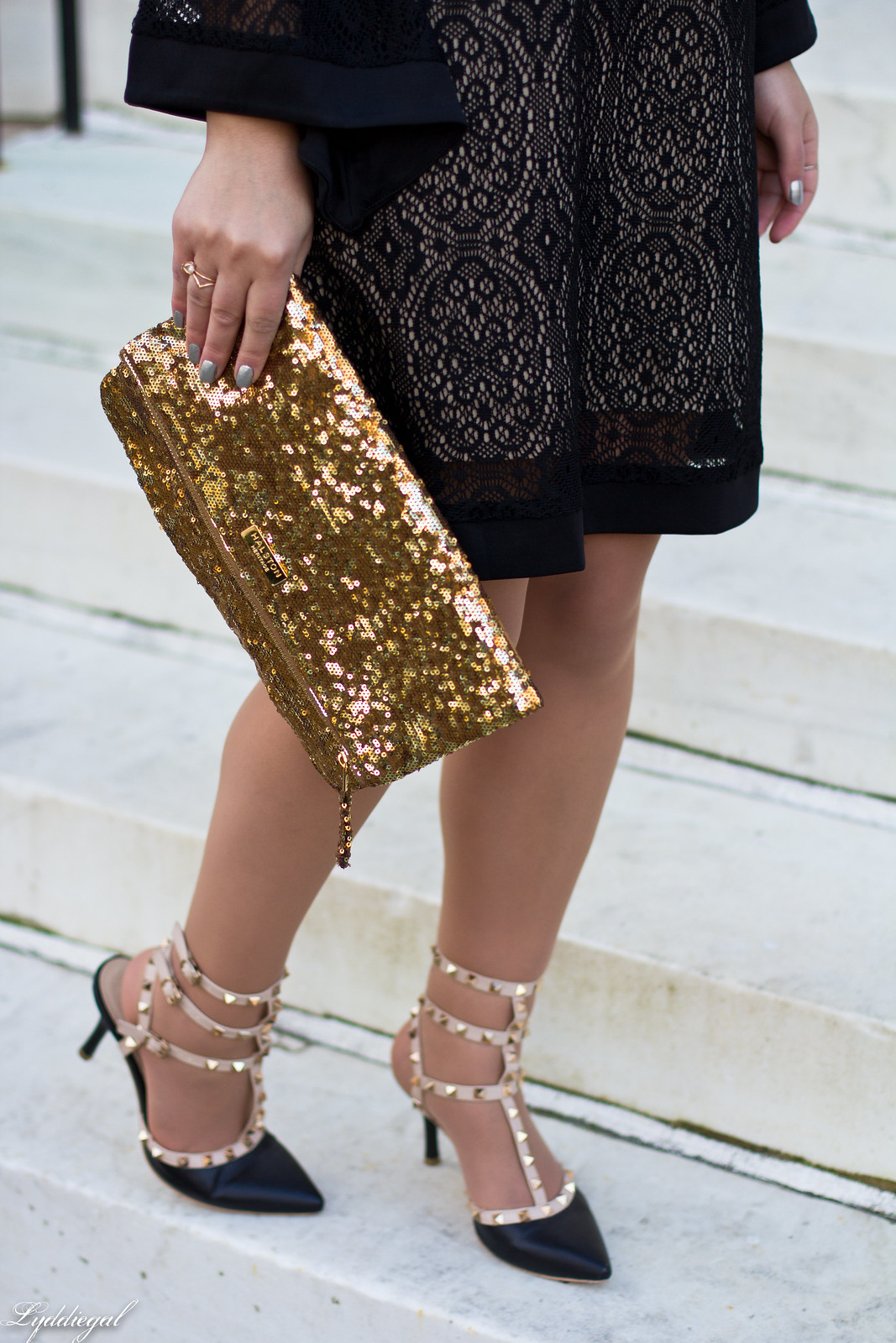 black lace dress, gold sequin clutch, studded pumps-3.jpg